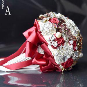 Luxus / Herrlich Rot Hochzeit Perlenstickerei Kristall Strass Metall Brautstrauß 2019