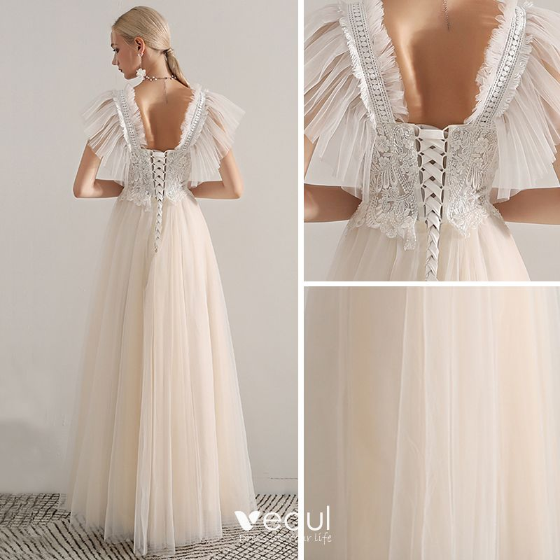 Elegant Champagne Prom Dresses 2019 A-Line / Princess Shoulders Sleeveless Appliques Lace Beading Floor-Length / Long Ruffle Backless Formal Dresses