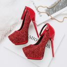 Sparkly Red 2018 14 cm High Heels Evening Party Ankle Strap Beading Glitter Sequins Pointed Toe Stiletto Heels Womens Shoes