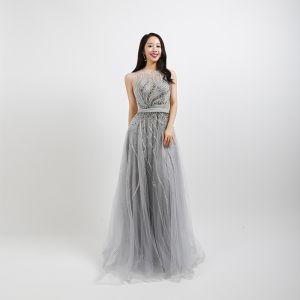 Illusion Grey Dancing See-through Prom Dresses 2020 A-Line / Princess Square Neckline Sleeveless Beading Rhinestone Sequins Sash Floor-Length / Long Ruffle Formal Dresses