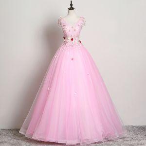 Elegante Pink Ballkleider 2019 A Linie V-Ausschnitt Blumen Perlenstickerei Spitze Applikationen Ärmellos Rückenfreies Lange Festliche Kleider