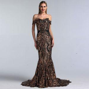 Sparkly Black Gold Sequins Evening Dresses  2020 Trumpet / Mermaid Off-The-Shoulder Short Sleeve Sweep Train Ruffle Backless Formal Dresses