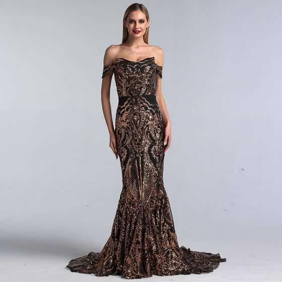 Sparkly Black Gold Sequins Evening Dresses  2020 Trumpet / Mermaid Off-The-Shoulder Short Sleeve Sweep Train Ruffle Backless Formal Dresses