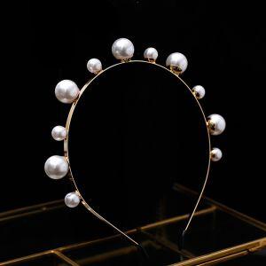 Chic / Beautiful Gold Hair Hoop 2020 Metal Pearl Headpieces