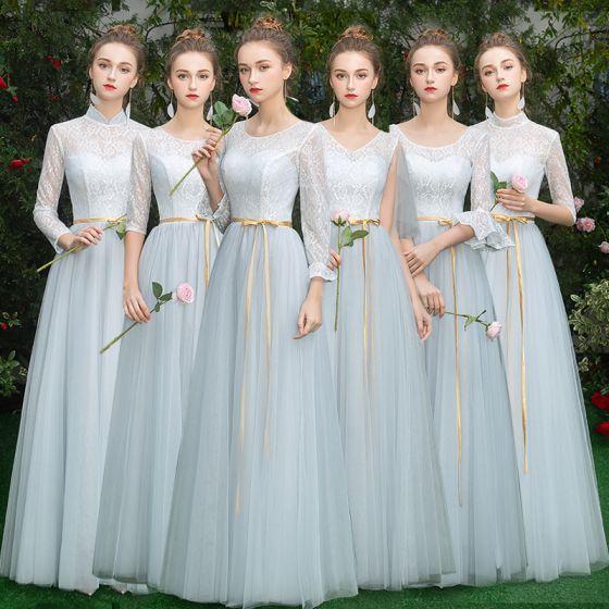 Niedrogie Błękitne Sukienki Dla Druhen 2019 Princessa Szarfa Długie Wzburzyć Bez Pleców Sukienki Na Wesele