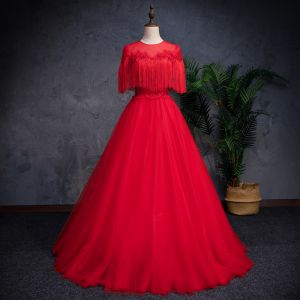 Chinese style Red See-through Prom Dresses 2019 A-Line / Princess Scoop Neck Sleeveless Appliques Lace Pearl Rhinestone Tassel Floor-Length / Long Ruffle Backless Formal Dresses