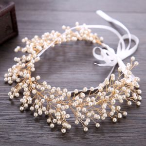 Charmant Gold Stirnbänder Haarschmuck Braut  2020 Legierung Schnüren Perle Kopfschmuck Hochzeit Brautaccessoires