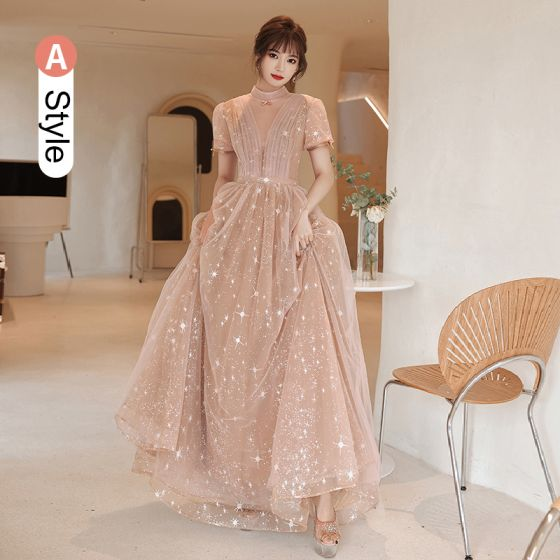 Fashion Champagne Bridesmaid Dresses 2021 A-Line / Princess Square Neckline Star Lace Sequins Bow Short Sleeve Backless Floor-Length / Long Bridesmaid Wedding Party Dresses