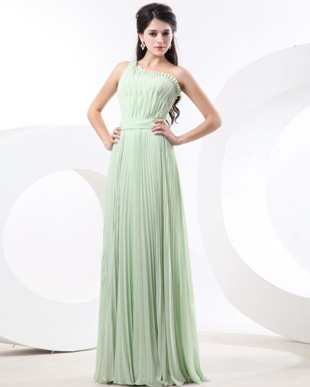 Empire One Shoulder Floor Length Chiffon Bridesmaid Dress
