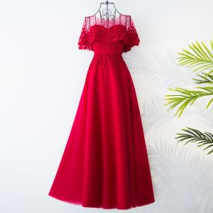 Chic / Beautiful Red Chinese style Evening Dresses  2017 A-Line / Princess Scoop Neck Short Sleeve Appliques Polyester Tulle Tea-length Evening Party