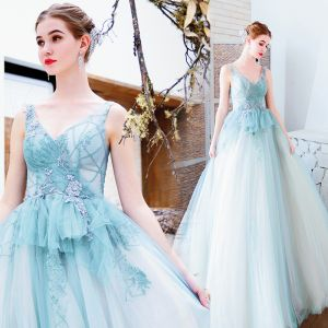 Hermoso Azul Cielo Vestidos de noche 2019 A-Line / Princess V-Cuello Rebordear Perla Lentejuelas Con Encaje Flor Sin Mangas Sin Espalda Largos Vestidos Formales