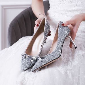 Sparkly Silver Wedding Shoes 2019 Sequins Bow 7 cm Stiletto Heels Pointed Toe Wedding Pumps