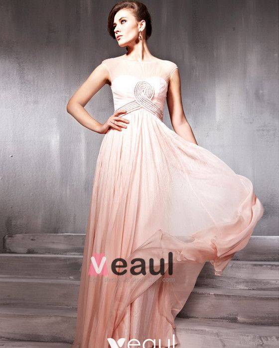 Beaded Ruffle Silk Charmeuse Tulle Jewel Floor Length Evening Dresses