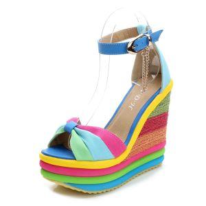 Mode Multifarben Freizeit Sandalen Damen 2019 Knöchelriemen Schleife 13 cm Keilabsatz Peeptoes Sandaletten