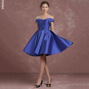 Simple Bleu Roi Robe Demoiselle D'honneur 2018 Princesse De l'épaule Manches Courtes Dos Nu Noeud Ceinture Courte Volants Robe Pour Mariage