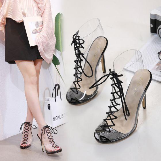 Sexy Svart Casual Sandaler Dame 2020 Gjennomsiktig 12 cm Stiletthæler Peep Toe Sandaler