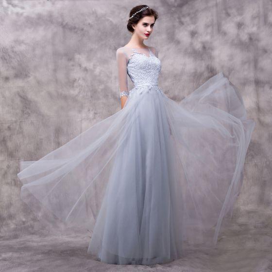 Hermoso Gris Vestidos de noche 2018 A-Line / Princess Con Encaje Flor Cinturón Scoop Escote Sin Espalda 3/4 Ærmer Largos Vestidos Formales