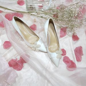 Modern / Fashion Ivory Wedding Bridesmaid Pumps 2020 Leather Pearl 5 cm Stiletto Heels Pointed Toe Wedding Shoes