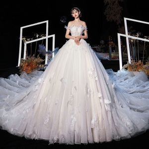 Luxury / Gorgeous Champagne Wedding Dresses 2020 Ball Gown Off-The-Shoulder Short Sleeve Backless Butterfly Appliques Lace Glitter Tulle Beading Cathedral Train Ruffle