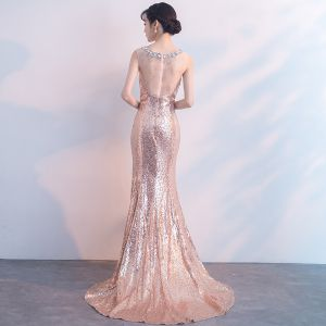 Sparkly Pearl Pink Evening Dresses  2019 Trumpet / Mermaid Scoop Neck Sleeveless Sequins Crystal Rhinestone Sweep Train Formal Dresses