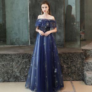 Mode Königliches Blau Abendkleider 2019 A Linie Perlenstickerei Glanz Pailletten Off Shoulder Rückenfreies Kurze Ärmel Lange Festliche Kleider