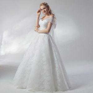 Abordable Blanche Robe De Mariée 2018 Robe Boule Noeud De l'épaule Dos Nu Manches Courtes Longue Mariage