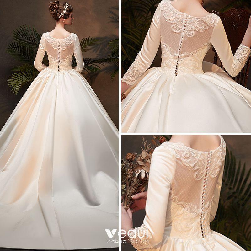 Vintage / Retro Ivory Satin Winter Wedding Dresses 2019