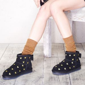 Lovely Snow Boots 2017 Black Leather Ankle Suede Cartoon Embroidered Casual Winter Flat Womens Boots
