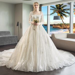 Luxury / Gorgeous Champagne Wedding Dresses 2018 Ball Gown Beading Sequins Square Neckline Long Sleeve Backless Royal Train
