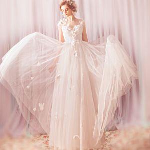 Charmant Blanche Longue 2018 Mariage Princesse Tulle V-Cou Papillon Appliques Dos Nu Robe De Mariée