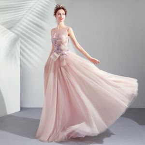Elegant Pearl Pink Evening Dresses  2019 A-Line / Princess Scoop Neck Appliques Lace Flower Bow Beading Pearl Rhinestone Sleeveless Backless Floor-Length / Long Formal Dresses