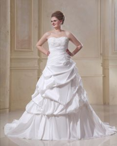 Taffeta Strapless Beading Empire Chapel Train Plus Size Wedding Dresses