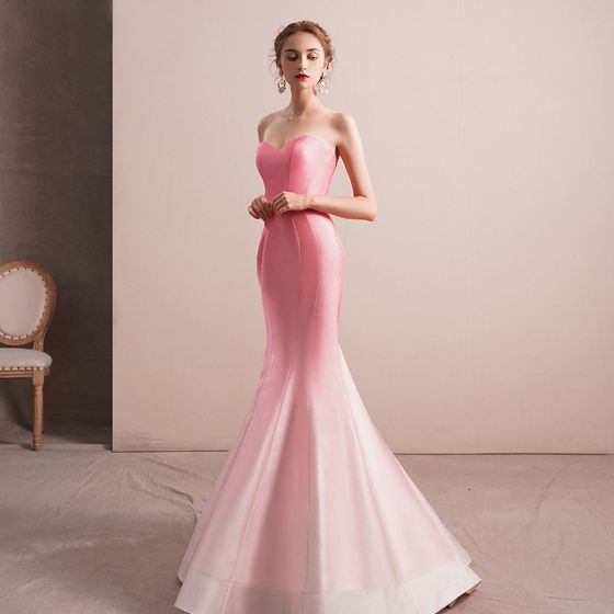 Stunning Candy Pink Gradient-Color Satin Evening Dresses  2019 Trumpet / Mermaid Sweetheart Sleeveless Floor-Length / Long Ruffle Backless Formal Dresses