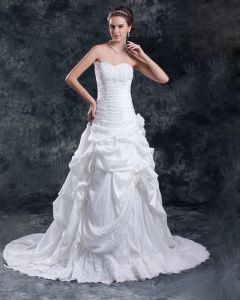 Taffeta Ruffle Applique Flower Court Train Sweetheart Women A Line Wedding Dress