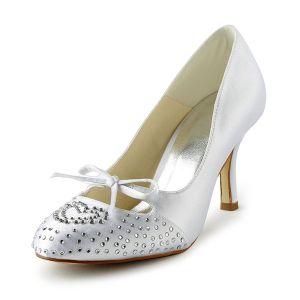 Chic Białe Buty Ślubne 3 Calowy Pięty Szpilki Czółenka Z Rhinestone