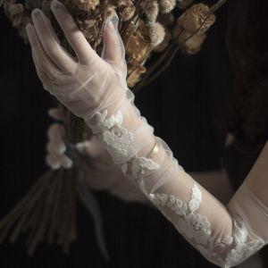 Moda Blanco Guantes de novia 2020 Tul Con cordones Apliques Boda Accesorios