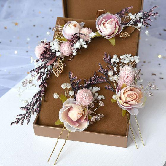 Blumenfee Pearl Rosa Kopfschmuck Hochzeit Brautaccessoires 2020 Legierung Blumen Perle Haarschmuck Braut