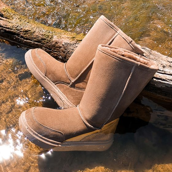 Modest / Simple Khaki Snow Boots 2020 Woolen Waterproof Leather Mid Calf Winter Flat Casual Round Toe Womens Boots
