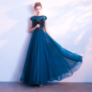 Chic / Beautiful Ocean Blue Prom Dresses 2018 A-Line / Princess Beading Crystal Scoop Neck Short Sleeve Ankle Length Formal Dresses