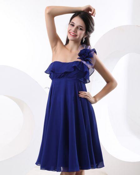 Chiffon One Shoulder Hand Flower Ruffles Bridesmaid Dress Gown
