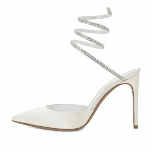 Amazing / Unique Ivory Evening Party Womens Sandals 2020 Leather Rhinestone 8 cm Stiletto Heels Pointed Toe Sandals