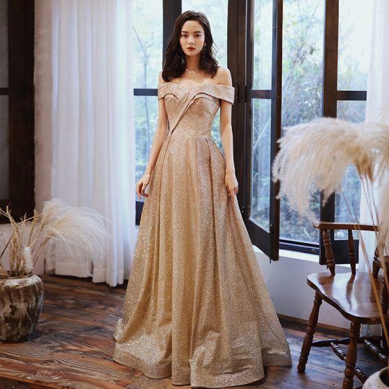 Piękne Złote Sukienki Na Bal 2020 Princessa Przy Ramieniu Kótkie Rękawy Cekinami Poliester Długie Wzburzyć Bez Pleców Sukienki Wizytowe