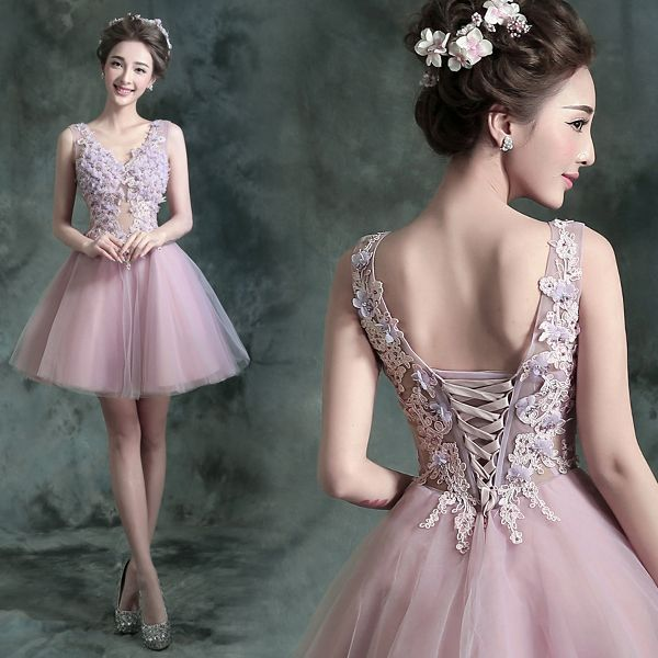 Chic / Beautiful Lavender Cocktail Party Cocktail Dresses 2017 Lace Appliques Flower Rhinestone Pearl Sleeveless V-Neck Backless Short Ball Gown