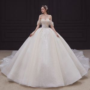 Elegant Champagne Bridal Wedding Dresses 2020 Ball Gown Off-The-Shoulder Short Sleeve Backless Appliques Lace Beading Rhinestone Glitter Tulle Cathedral Train Ruffle