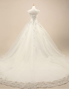 2015 Luxury Bridal Gown Lace Shoulders Crystal Wedding Dress