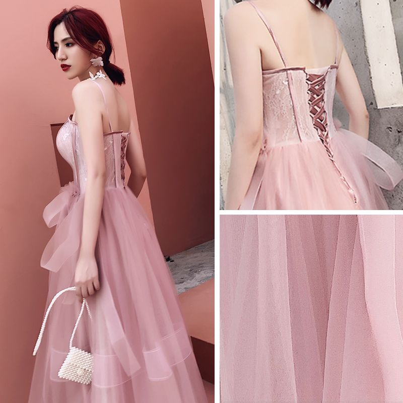 Elegant Pearl Pink Evening Dresses  2019 A-Line / Princess Spaghetti Straps Sleeveless Bow Floor-Length / Long Ruffle Backless Formal Dresses