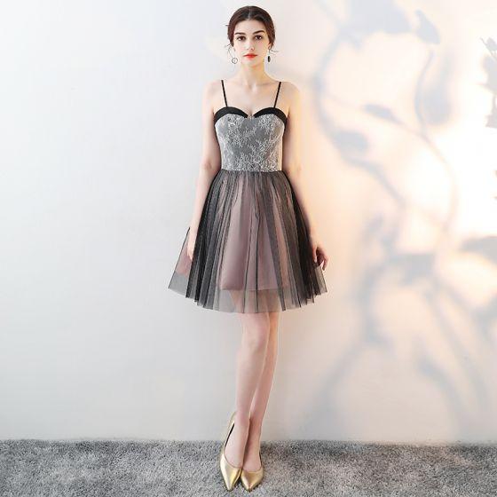 bien fuera x estilos de moda colores delicados Hermoso Negro de fiesta Vestidos de graduación 2018 A-Line ...