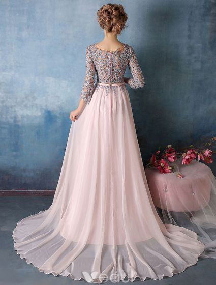 Beautiful Prom Dresses 2016  3/4 Sleeves Applique Lace With Sequins Pink Chiffon Long Evening Dress
