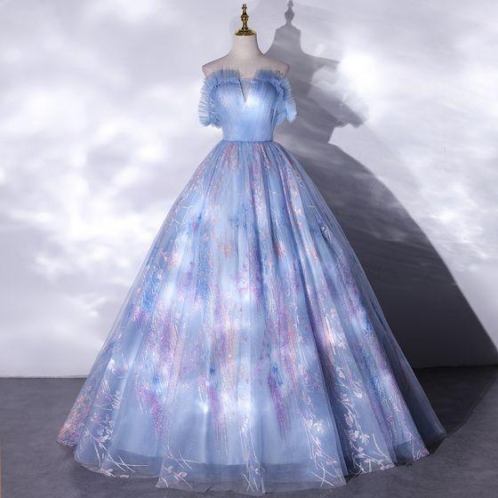 Elegant Sky Blue Glitter Prom Dresses 2021 Ball Gown Ruffle Square Neckline Sleeveless Backless Floor-Length / Long Formal Dresses