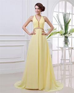 Elegant Floor Length Beading Pleated Chiffon Halter Women Evening Dress